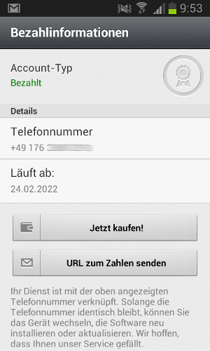 Accountinfo bei WhatsApp.