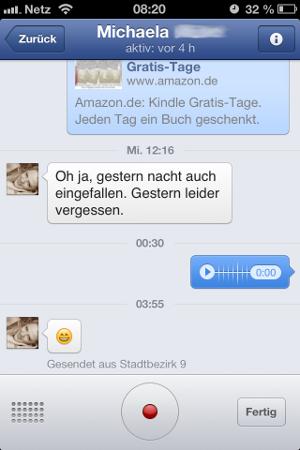 Sprachnachrichten im Facebook Messenger