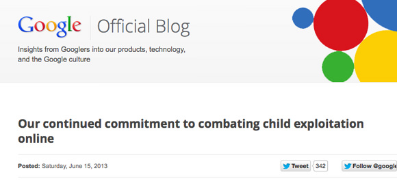 Screenshot Google Blog - http://googleblog.blogspot.de/2013/06/our-continued-commitment-to-combating.html#gpluscomments