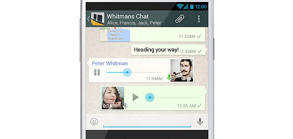 Whats App mit push-to-talk voice messaging