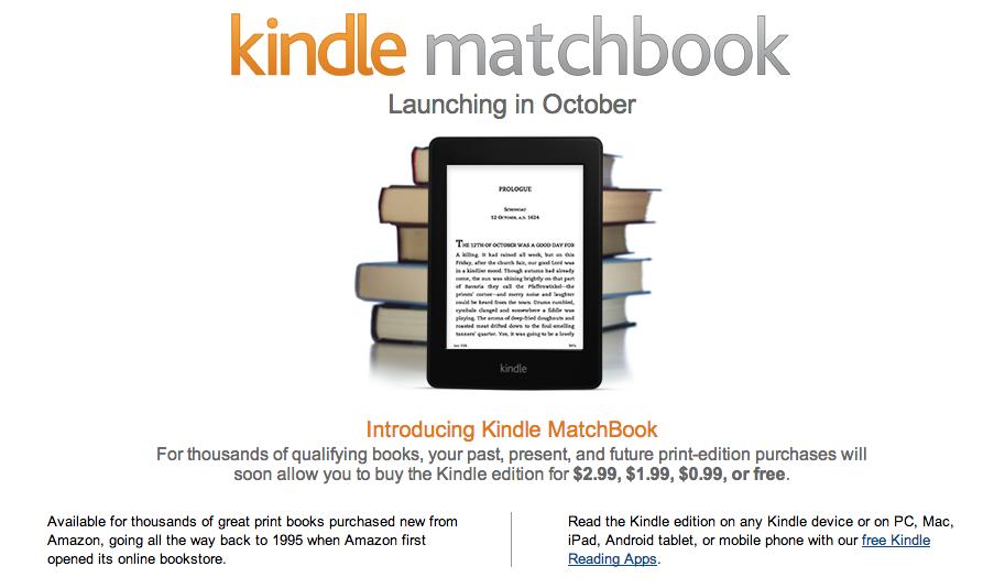 Kindle Matchbook Amazon Bietet E Book Ausgaben Gekaufter Bücher