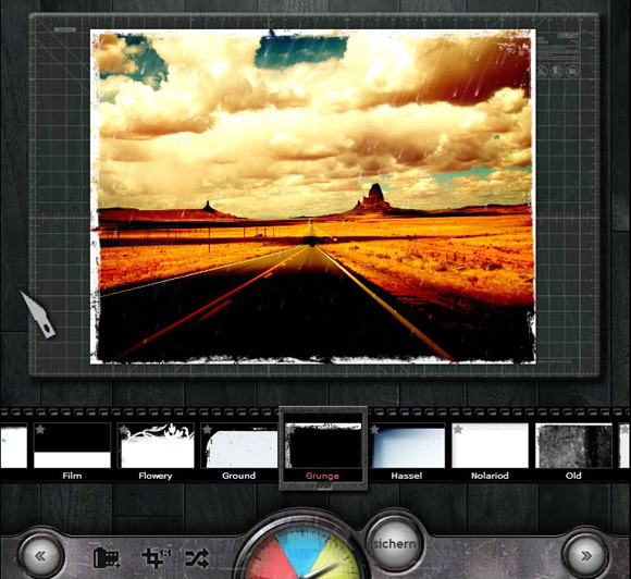 """Hat man sich für eine Textur entschieden, fehlt noch ein passender Rand für das Pixel-Kunstwerk. Auch hier punktet die Web-App mit einer großen Auswahl. Ich schwankte zwischen einem kultigen Polaroid-Rahmen und einem namens """"Grunge"""". Der Fetzen-Rand bekam den Zuschlag."""