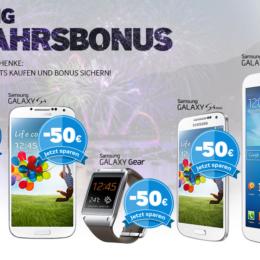 """""""Neujahrsbonus"""" auf Galaxy-Modelle Note 3, S4, S4 mini, Gear und Tab 3 8.0: Samsung schenkt euch bis zu 100 Euro"""