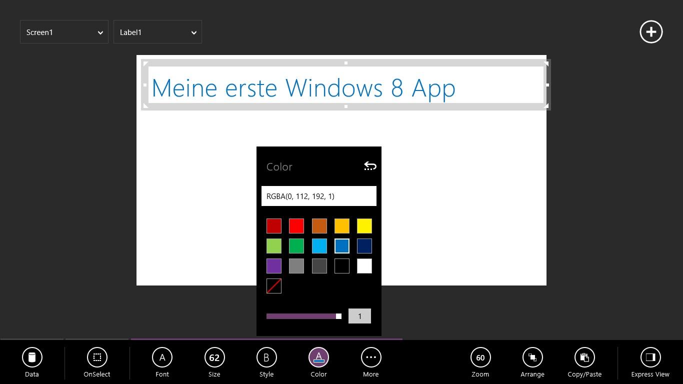 Der Titel für meine erste App war leicht gefunden. Der Font, die Größe und die Farbe lassen leicht anpassen.