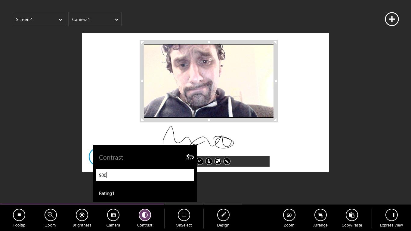 Weitere Spielereien folgen: Ich füge ein Feld für Notizen hinzu und erhöhe den Kontrast der Webcam, was zu interessanten Farbeffekten führt.