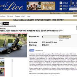 """Kultige Auktion: David Hasselhoffs """"KITT"""" wird online versteigert"""