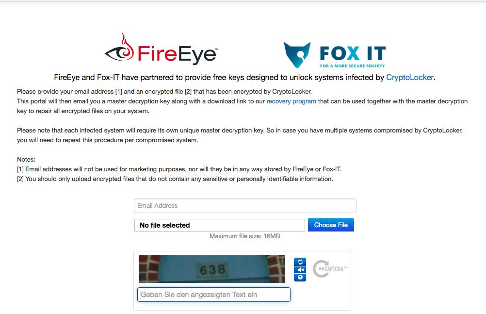 Website befreit verschlüsselte CryptoLocker-Dateien