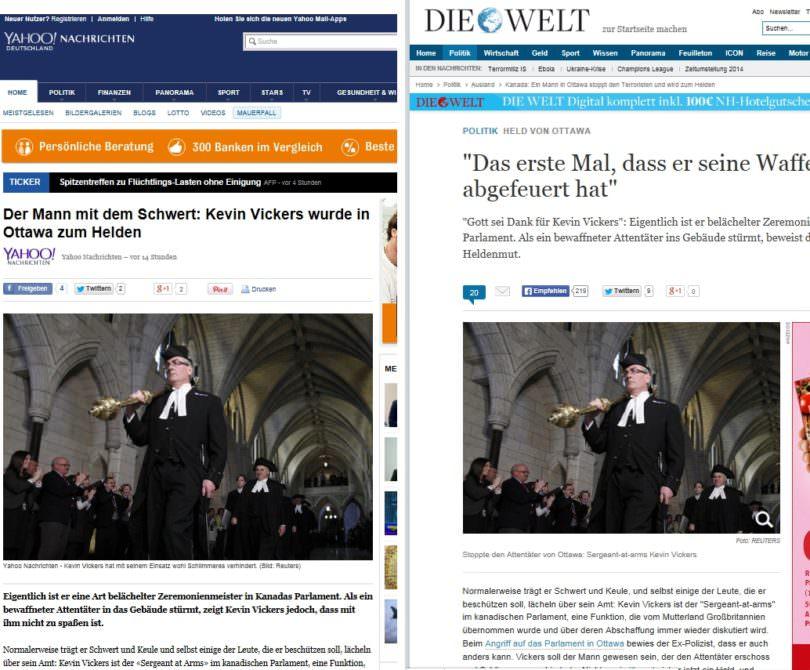 Das Problem der Verlage: Die meisten ihrer Inhalte können Internetnutzer genauso gut auf anderen Webseiten finden. Links der Artikel auf yahoo.de, rechts diewelt.de.