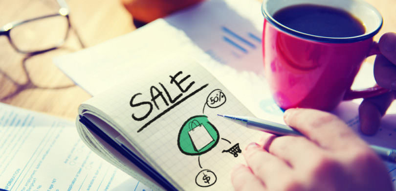 Businessman Notepad Sale Word Concept