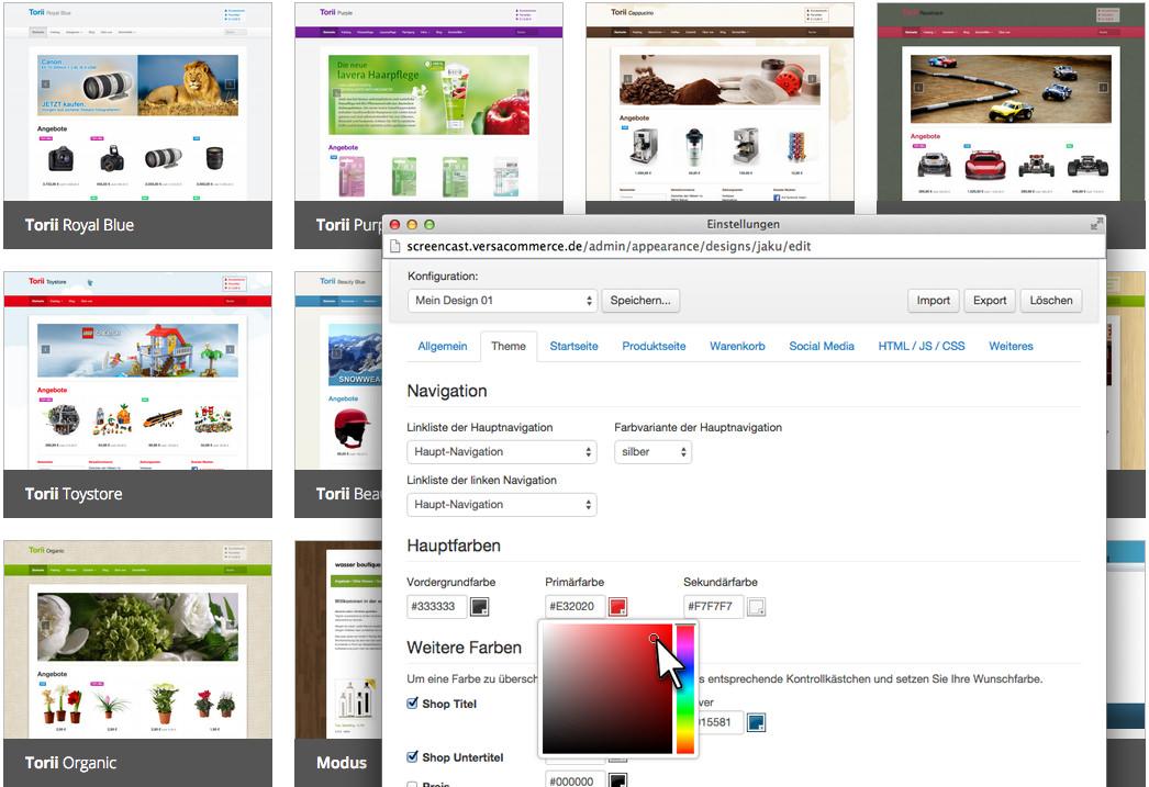Designvorlagen können individuell angepasst werden.