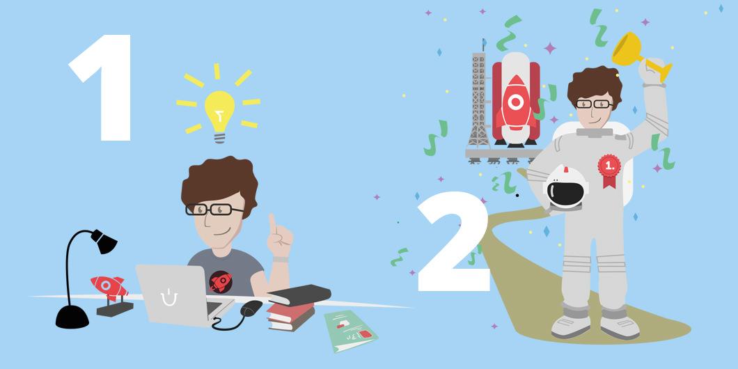 """Schritt 1 und 2 zur Teilnahme an der Gründerförderung """"E-Commerce-Booster"""": Eine Idee entwickeln und sie präsentieren."""