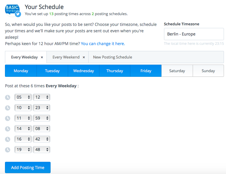 Buffer Zeitplan