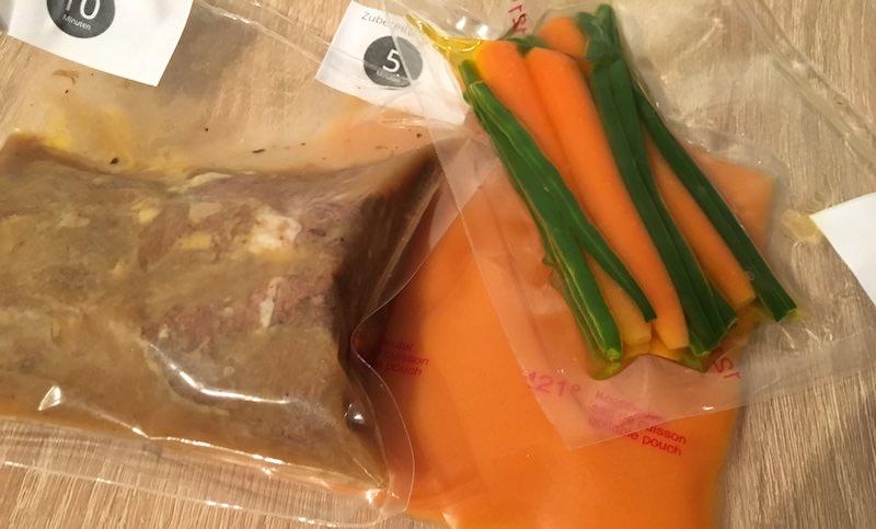 Fleisch-Gericht in Verpackung