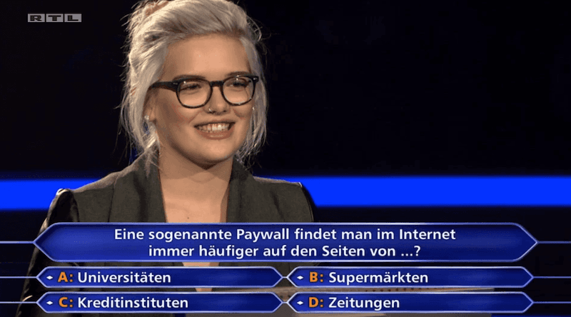 Paywall – Publikumsjoker – Wer wird Millionär