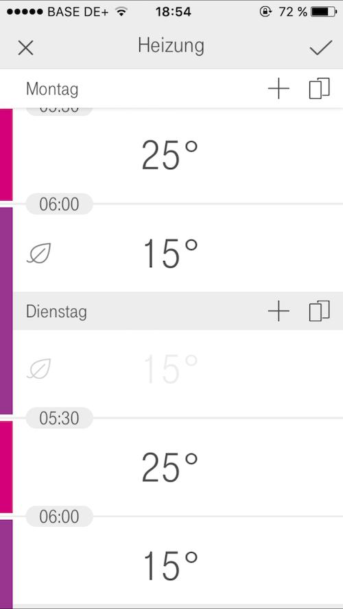 Qivicon Smart Home Zeitplan Heizung