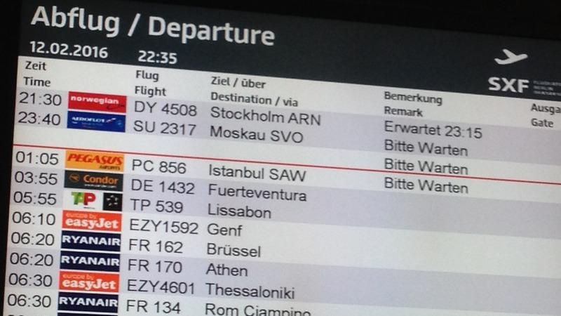 Display Flughafen Berlin-Schönefeld