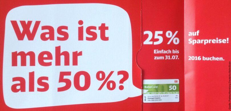 Postwurfsendung BahnCard 50