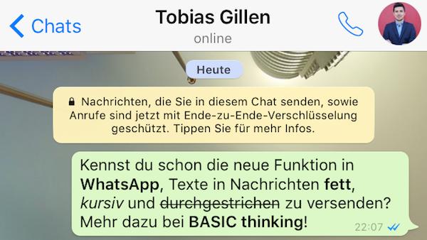 WhatsApp Text formatieren – fett, kursiv, durchgestrichen