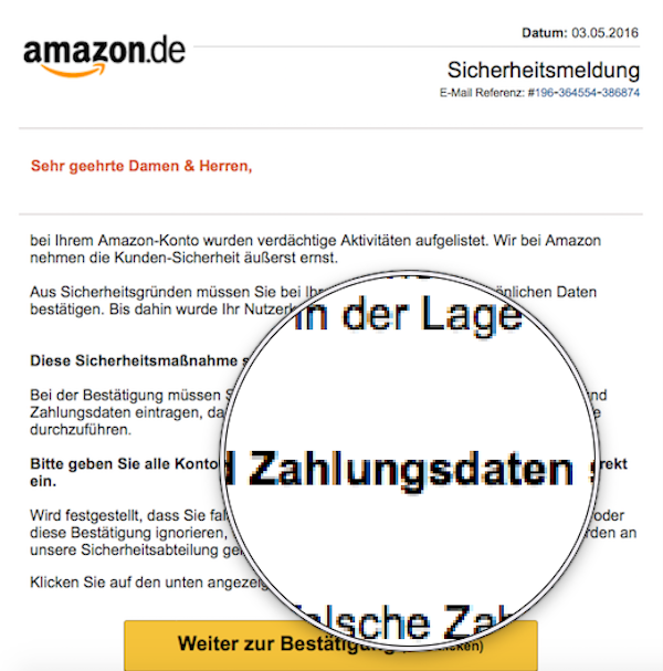 Amazon Konto eingefroren Spam Mail