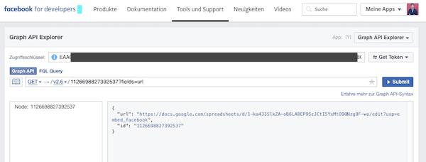 URL Abfrage Graph API Explorer