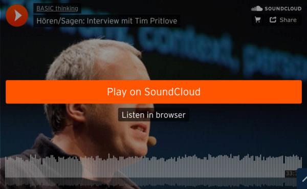 Tim Pritlove dürfte sich bei seinen Plattform-Bedenken bestätigt fühlen. Auch wenn er hinter dem Soundcloud-Balken schwer zu erkennen ist.