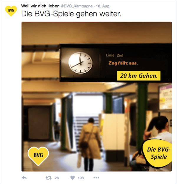 #weilwirdichlieben von der BVG (Bild: Screenshot / Twitter)