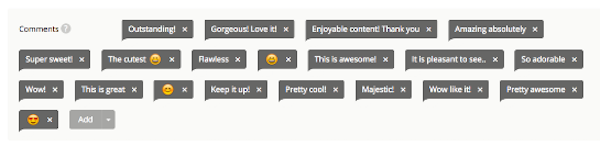 Diese Kommentare schlägt Instagress vor. Sie werden – wenn die Kommentar-Funktion aktiviert ist – unter die Fotos von Instagram-Nutzern gepostet.
