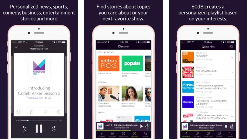 Die App 60dB will ihren Nutzern eine individuelle Audio-Playlist aus Radio-, Podcast- und Video-Inhalten liefern. Screenshot: iTunes Store.