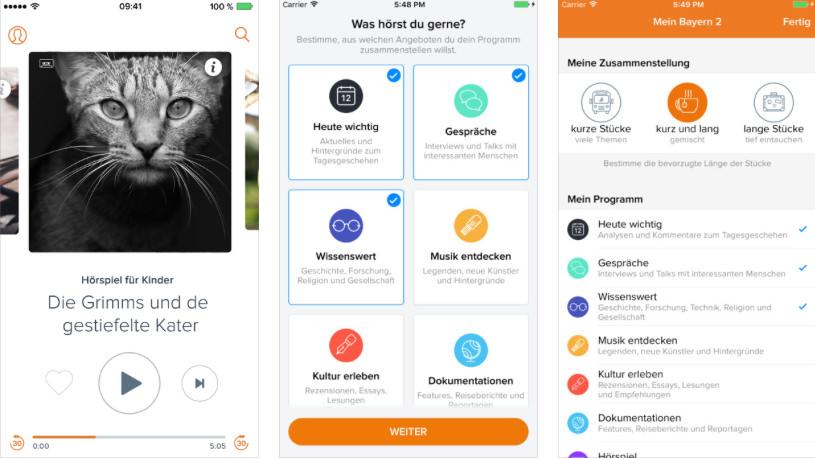 Die App von Bayern 2 überlässt ihren Nutzern die Wahl und die Sendungsplanung gleich mit. Nur kurze News? Oder doch lieber nur lange Reportagen? Beides ist möglich - auch als Mischung. Screenshot: iTunes Store.
