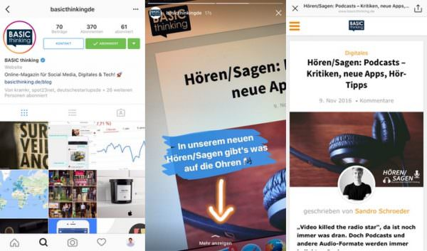 Links bei Instagram
