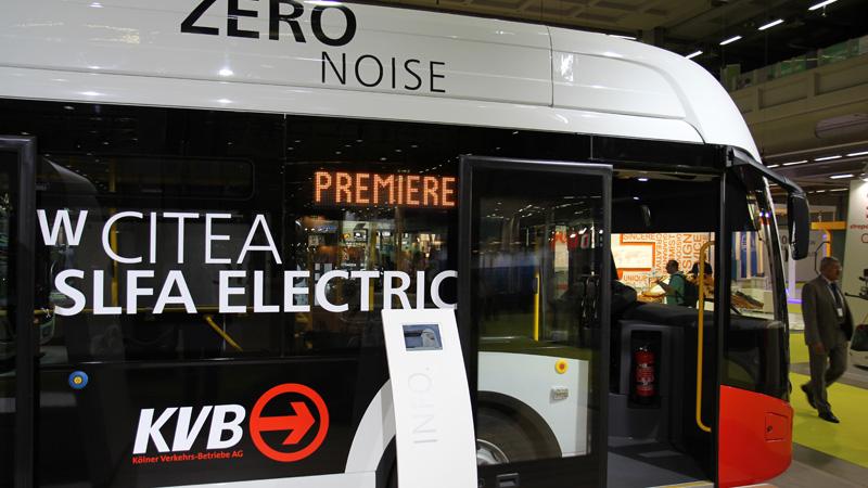 Der E-Bus im Jahr 2015 auf dem UITP-Weltkongress in Mailand. Bild: Stephan Anemüller/KVB