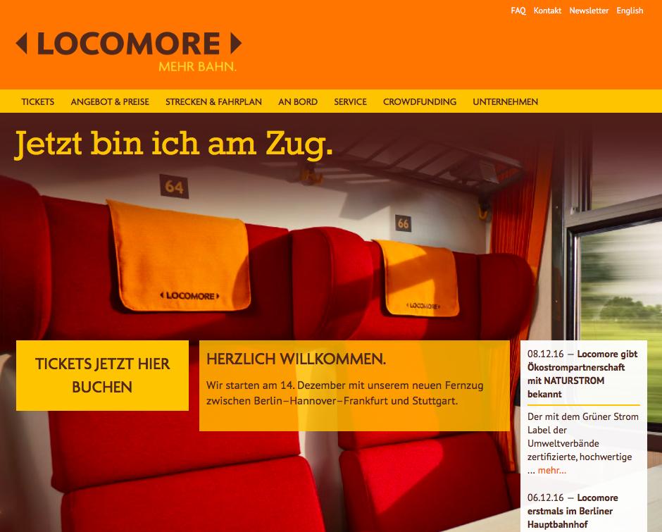 Homepage von Locomore am 14.12.2016