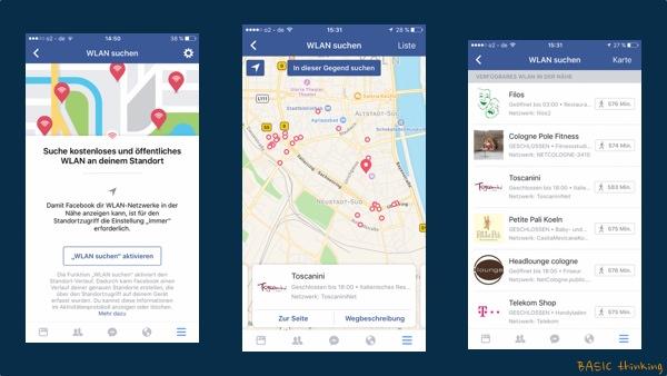 WLAN suchen Facebook App iOS