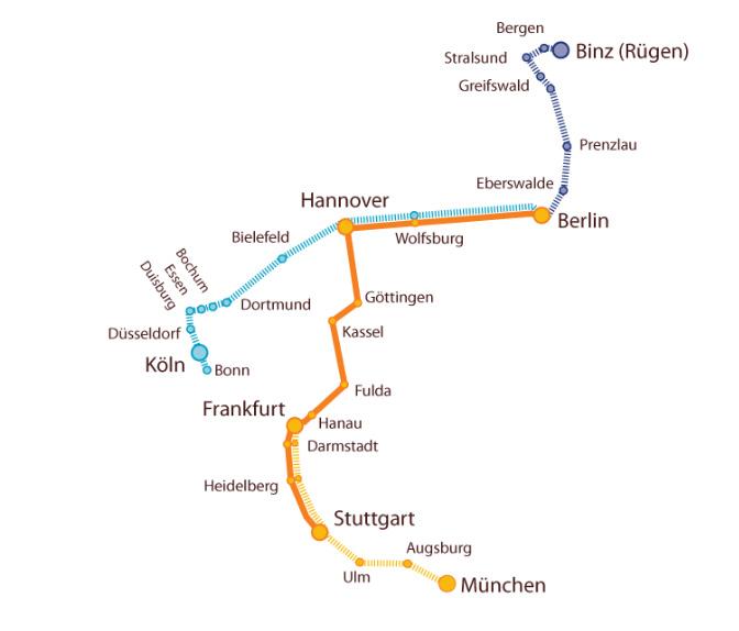 Ab 14.12. startet Locomore auf der orangen Strecke (Stuttgart-Berlin), geplant sind weitere Verbindungen (gestrichelte Linien). Bild: Locomore