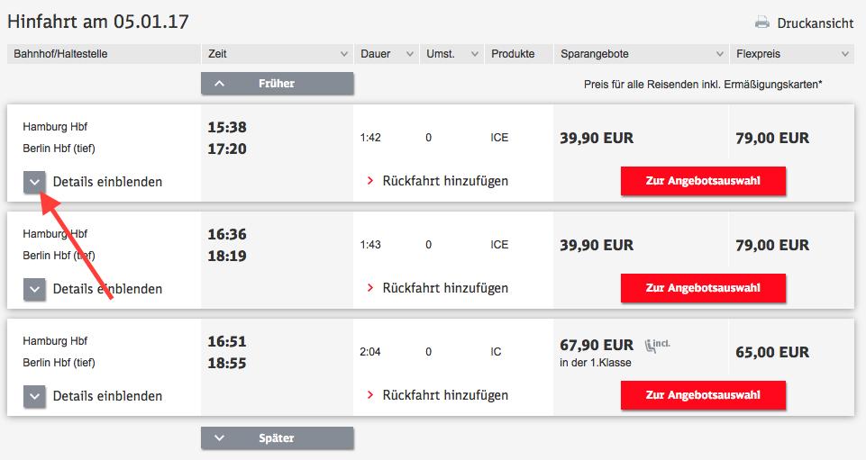 Bahnreise in den Kalender eintragen (Schritt 1)
