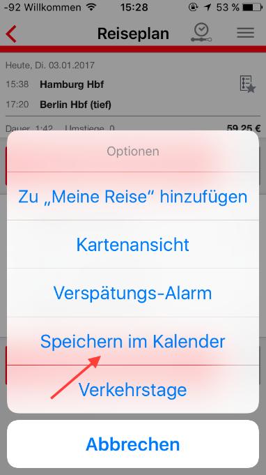 DB Navigator: Bahnreise in den Kalender eintragen (Schritt 2)