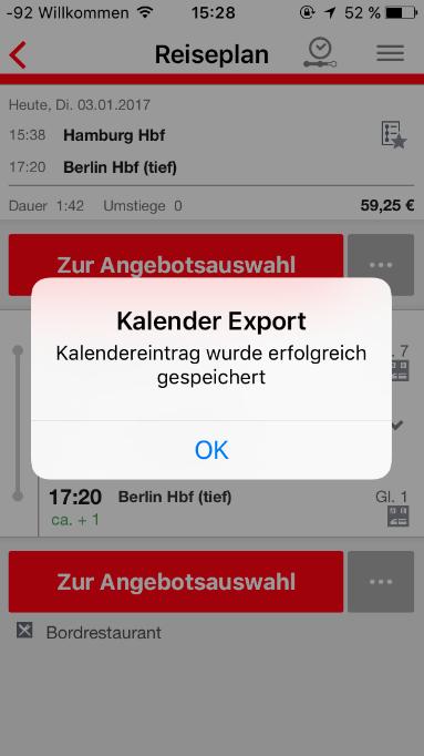 DB Navigator: Bahnreise in den Kalender eintragen