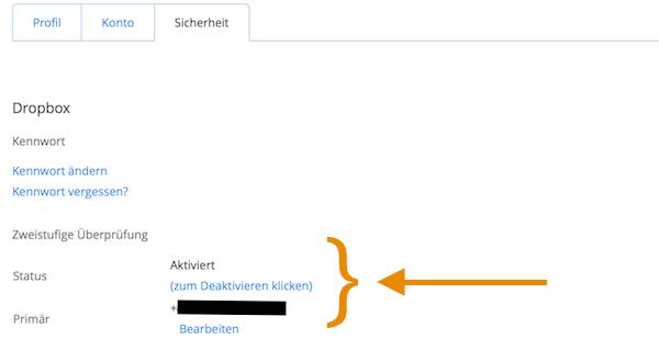 Dropbox Zwei-Faktor-Authentifizierung 2FA