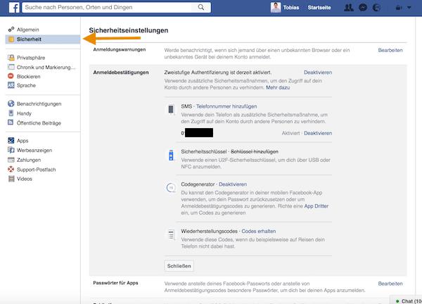 Zwei-Faktor-Authentifizierung auf Facebook