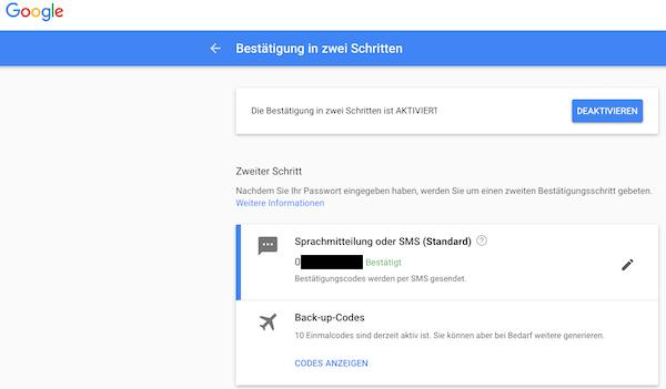 Google Zwei-Faktor-Authentifizierung 2FA