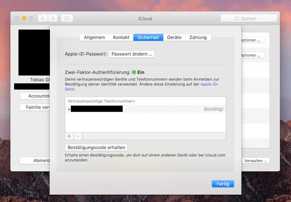 iCloud Apple-ID Zwei-Faktor-Authentifizierung 2FA