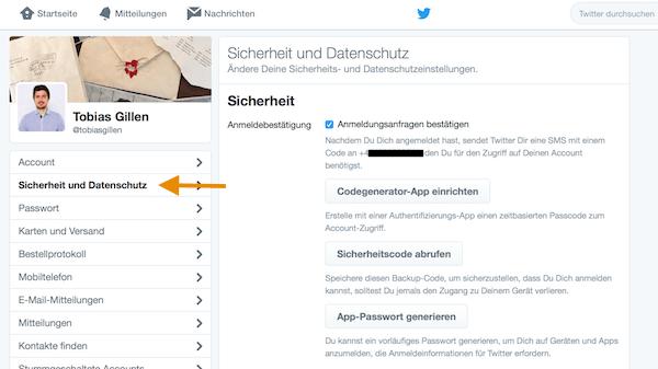 Zwei-Faktor-Authentifizierung auf Twitter