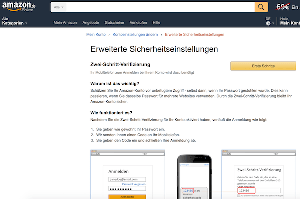 Zwei-Faktor-Authentifizierung bei Amazon