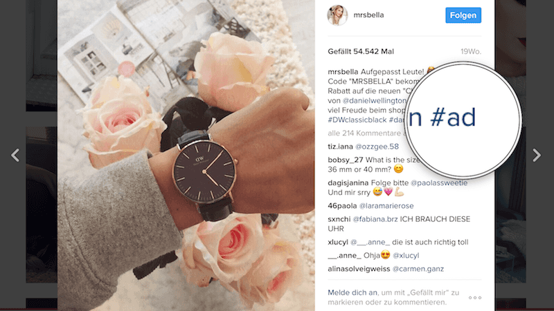 Influencer Werbung Instagram MRS BELLA