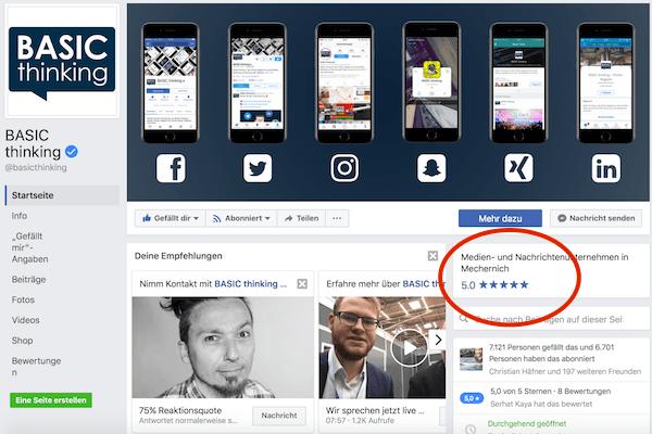 Facebook Sternebewertungen 2
