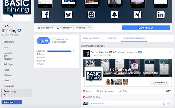 Facebook Sternebewertungen