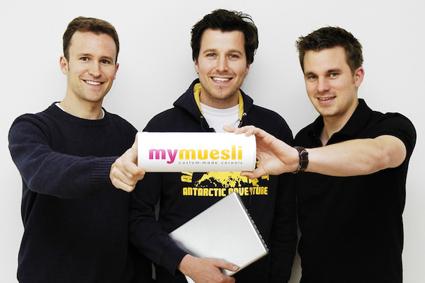 Mymuesli Gründer Jubiläum Max Wittrock, Hubertus Bessau, Philipp Kraiss