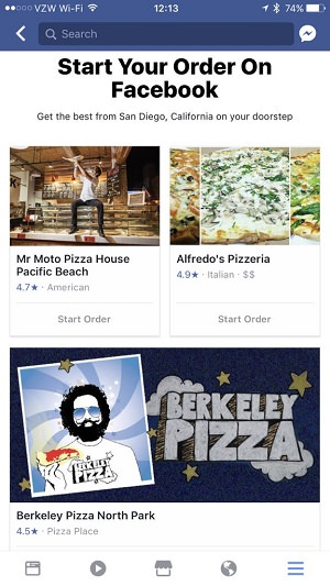 Order Food, Facebook