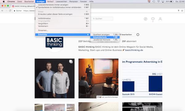 Instagram Chrome Bilder vom Desktop auf Instagram posten