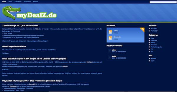 Die mydealz-Startseite 2007